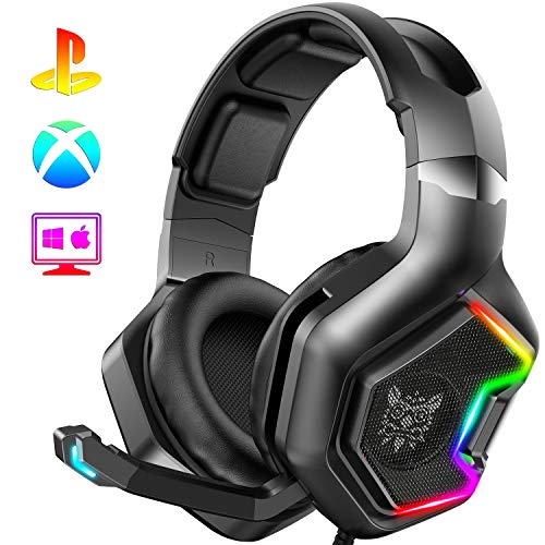 ONIKUMA PS4 Headset -Xbox One Headset Gaming Headset with 7.1 Surround Sound Pro Noise Canceling Gaming Headphones with Mic & RGB LED Light Compatible...
