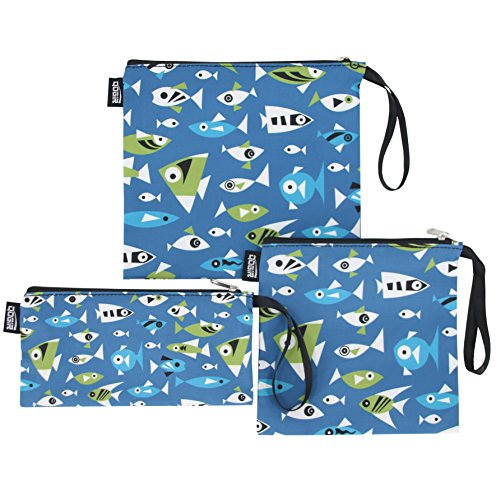 QOGiR Reusable Snack Bags Sandwich Lunch Bags with Handle3 Pack - Dishwasher Safe BPA-free Lead-free Pvc-free Marine Fish