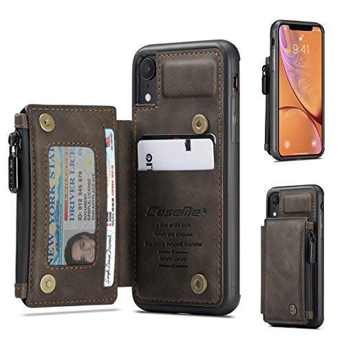 Zttopo Wallet Case for iPhone XR with Card Holder, Premium Leather Zipper Card Slots Case Wallet with [RFID Blocking], Durable Shockproof Cover Money Pocket for iPhone XR 6.1 Inch (Coffee)