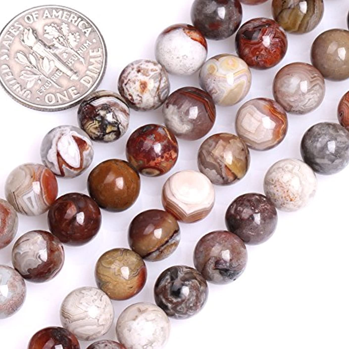 GEM-inside Natural Genuine 8mm Round Dark Red Mexico Laguna Lace Agate Beads for Jewelry Making Strand 15