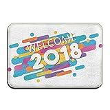 Bienvenido 2018, felpudos con patrón de arte divertido, alfombrilla de entrada, alfombra...