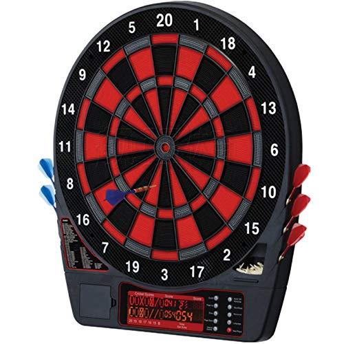 Diana electrónica, Juegos de Diana, 50 Juegos y 704 Variantes de Juego,Pantalla LED Scoring Indicator Target Board con 6 Dardos para 4 Jugadores,Black
