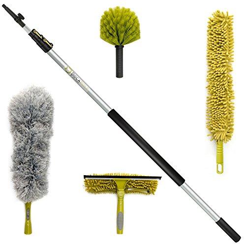 Kit de limpieza DocaPole con palo telescópico 3,65 metros // Incluye 3 adaptadores de polvo + 1 espátula de goma para cristales y escobilla // Plumero de tela de araña // Plumero de microfibra