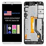 5.0' for HTC Desire 530 Screen Replacement A16 D530G D530U LCD Display Parts Assembly Touch Sensor Digitizer Glass Lens Kit (White with Frame)