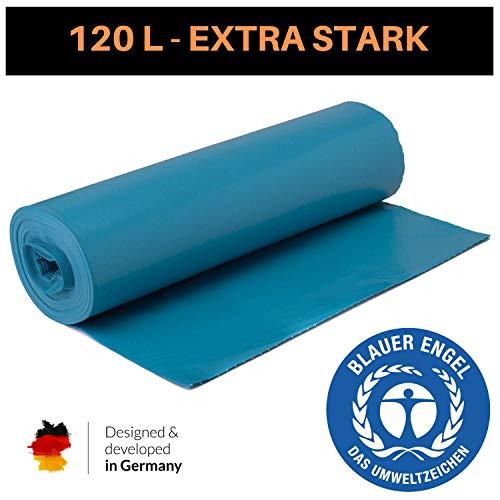 Extra Starke blaue Müllsäcke 120 Liter - Reißfeste Müllbeutel XXL - 25 STÜCK je Rolle - Typ 100 - Stabile Mülltüten für Haushalt, Gastronomie und Gewerbe als Abfallsack - Blauer Engel (Blau, 1 Rolle)
