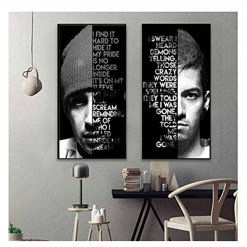 Suuyar Modern Wall Art Canvas Decoration Twenty One Pilots Poster Print Pictures Painting Abstract Printed Picture Office Decorative-50x70cmx2No Frame