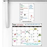 Magnetic Dry Erase Calendar - White Planning Board Magnetic Calendar for Refrigerator with Grocery List Magnet Pad, Monthly Calendar Whiteboard, 15' × 11.5', Desk & Wall & Fridge Calendar/Planner