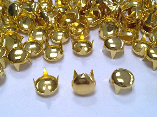 CraftbuddyUS 200pcs Gold 7mm Round Dome Studs for Punk, Rock Goth Biker Fashion DIY Stud