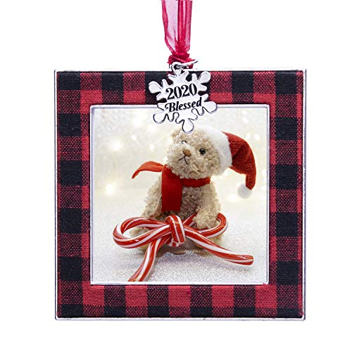 """LARAINE Christmas Tree Ornaments 1 Pieces – Decorative Hanging 2020 Plaid Pendant with 2.5"""" Picture Frame Insert for Baby and Pet Holiday Keepsake Gift (Square-Plaid-Red&Black)"""