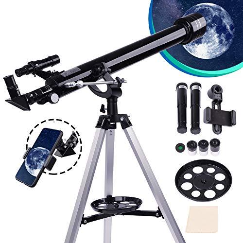 Telescopio astronómico refractario 60 mm/800 mm para adultos y principiantes con investigador, lente Balow, color negro