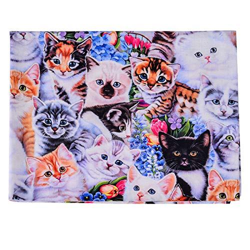 Urijk Baumwollstoffe Hunde Katze Bedruckte Stoffe Haustier Muster Stoffe zum Nähen patchwork DIY Baumwolle Nähstoffe Quilt Stoff, 45 x 110cm(D)