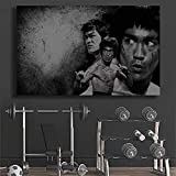 Bruce Lee Póster Gimnasio Decoracion Inspiración Cuadros Hogar Gimnasio Fitness Culturismo Bruce Lee Pared Arte Impresión Lienzo Retro Pasillo Decoracion 50x80cm Sin marco