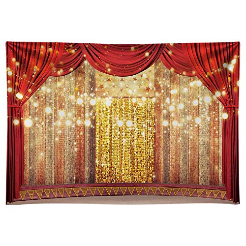 Funnytree 7x5FT Soft Fabric Red Curtain Stage Backdrop Circus Carnival Background Birthday Wedding Baby Shower Party Decoration Banner Supplies Favors Gifts Photo Booth Props