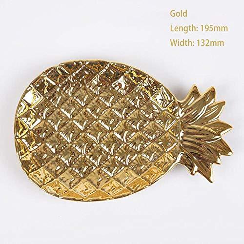 Voedsel Pallet Sieraden Pallet Creatieve gouden ananas Keramische opbergbak Gouden ananas Gedroogde fruitschaal Woondecoratieplaat, GOUD