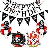 CozofLuv Piraten Luftballons, Folienballons Piraten, Piraten Ballons, Wimpel Party Pirate, Luftballons Pirat, Piratenluftballons für Piraten Kindergeburtstag, Piraten Party, Geburtstagsparty Junge