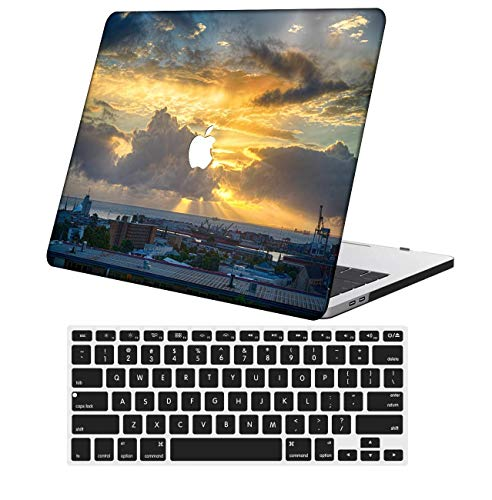 NKDCase Case for Newest MacBook Air 13 inch Model A2179 Cut Out Design,Plastic Ultra Slim Light Hard Case Keyboard Cover Compatible MacBook Air 13 inch with Retina Display Touch ID,Sky Series 1162