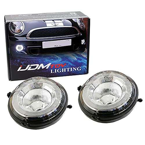 iJDMTOY Xenon White LED Daytime Running Lights Fog Lamps Assy Compatible With MINI Cooper R55 R56 R57 R59 R60 R61 etc. Halo Style LED DRLs Powered by (30) High Power LED Lights