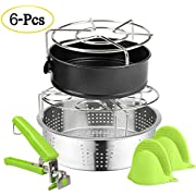 EXPOWER Electric Pressure Cooker Accessories, Include Steamer Basket/Vegetable Steamer Basket, Steamer Rack, Silicone Pot Holder, Egg Steamer Rack, Non-Stick Springform Pan, Dish Clip (6 Pcs)