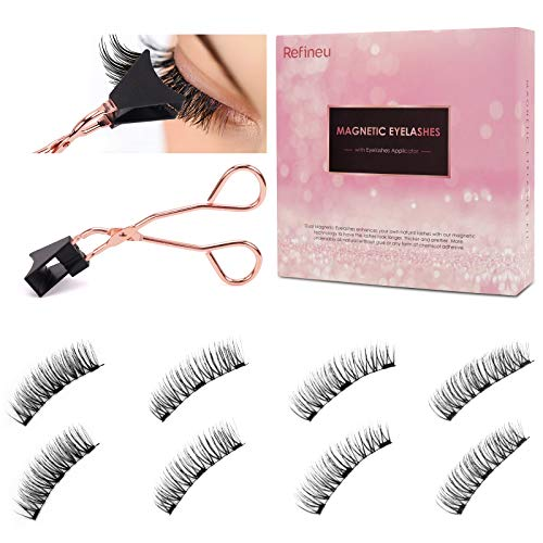 Dual Magnetic Eyelashes, No Glue, 0.2mm Ultra Thin Magnet, Natural 3D False Lashes with Applicator, Easy to Apply
