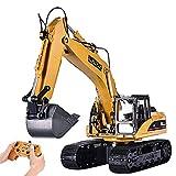Excavadora RC con control remoto de 2,4 GHz, excavadora de metal de 1/20 con control remoto con luz y sonido, regalo para niños y adultos