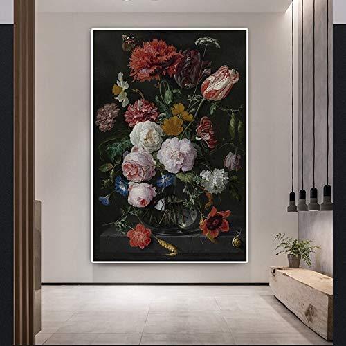 sanzangtang Edle Blume Ölgemälde Leinwand Klassische Kunst Rose Dekoration Malerei nordischen Wandbild Wohnzimmer rahmenlose Malerei 30cmX45cm