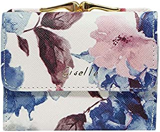 GISELLE がま口 財布 レディース 小さい 三つ折り ミニ財布 薄い がまぐち 小銭入れ カード入れ 大容量 がまぐち財布 花柄 (花柄ブルー)