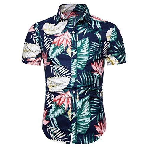 Reooly Camisa con Estampado de Botones de Manga Corta étnica de Verano de Lino y algodón Hombre(C-Azul,XXL)