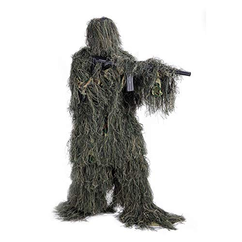 Pinty Ghillie Suit 3D 4-Piece with Bag Camouflage Camo Tactical Hunting Forest Woodland Dark Green ML