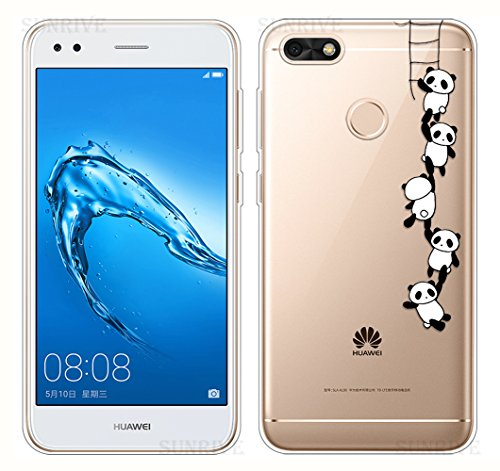 Sunrive Für Huawei Y6 Pro 2017 Hülle Silikon, Transparent Handyhülle Schutzhülle Etui Hülle Backcover für Huawei Y6 Pro 2017 / P9 Lite Mini(TPU Panda 1)+Gratis Universal Eingabestift