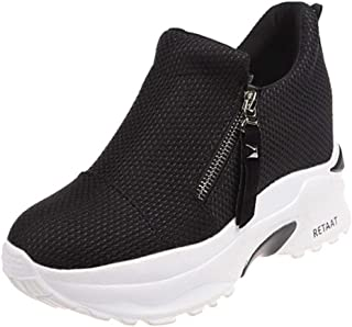 ELEEMEE Women Fashion Flatform Sneakers Zipper High Heels