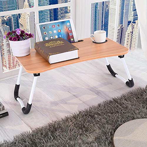US Fast Shipment 23.6in Adjustable Laptop Bed Table Lap Desk, Portable Bed Tray Table for Couch & Sofa,Breakfast Tray Dining Table,Dormitory Table Notebook Stand Reading Holder for Couch Floor Kid (D)