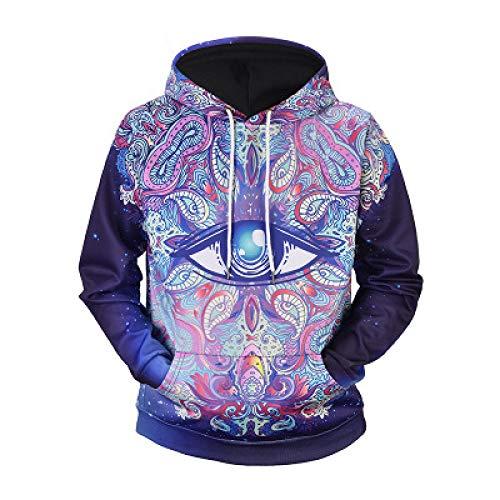 BAGFP Sweatshirt Hoodie Plus Fette XL Herren 2020 Neue Kreative Psychedelische Eye-Print Kapuzenpullover Lose Männer S-4Xl