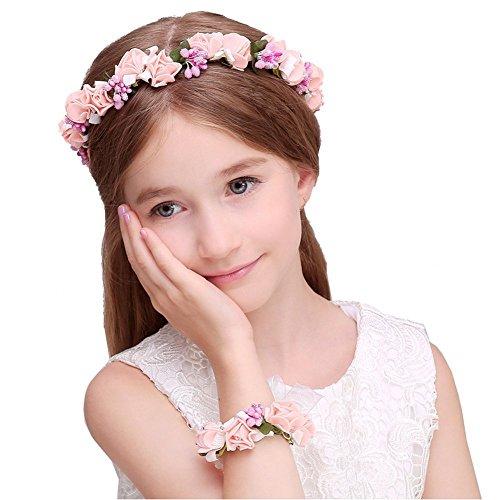 JYJHL Kranz Handgelenk Blume Zweiteiliger Anzug Kind Erwachsener Hochzeitskleid Mädchen Haarband Blumenmädchen Brautjungfer Haarschmuck,D-OneSize