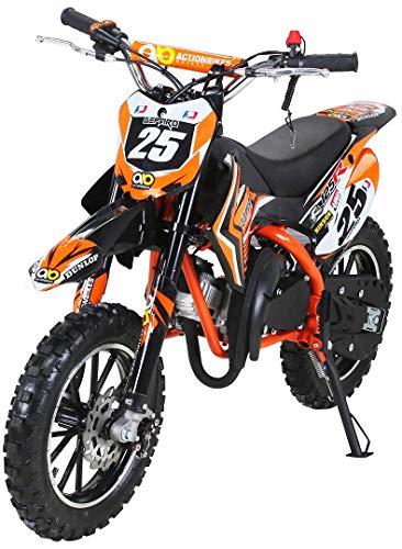Moto de cross mini Gepard para niños, 49 cm³, 2 tiempos, incluye embrague tuning, carburador de 15 mm, fácil arranque, horquilla reforzada., naranja