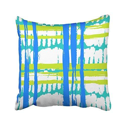 Funda de almohada decorativa para el hogar, 18 x 18 pulgadas, con pinceladas anchas y rayas en colores brillantes, azul turquesa y lima, 45 x 45 cm, fundas de almohada cuadradas decorativas para sofá, accesorio para el hogar, regalos