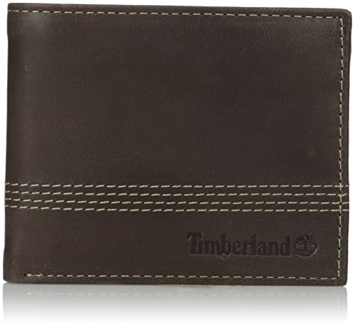 Timberland Men's Leather Slimfold Wallet with Matching Fob Gift Set, Brown, One Size