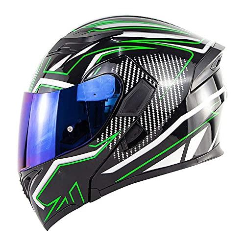 Moto Modular Motocicleta Full Face Marterial para Hombres Mujeres Adultos Touring Cruising Racing