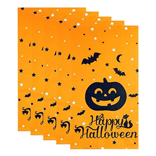 NUOBESTY 20 Stück Halloween Papier Behandeln Taschen Halloween Süßigkeiten Party Taschen Geschenk Papiertüten Einkaufstüten Handwerk Papiertüten (Orange)