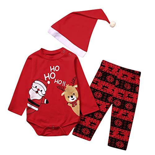 Mamum Enfant en Bas âge bébé garçon Fille de noël Santa Barboteuse Body+Pantalon de Dessin animé+Chapeau Tenues