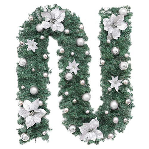 SOLUSTRE Artificial Christmas Garland with Lights Pre-Lit Garland with Poinsettias and Sliver Balls Battery Operated Xmas String Lights for Indoor Outdoor Decorations (without Battery)