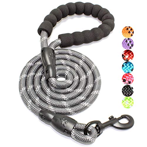 BAAPET 4/5/6 FT Strong Dog Leash with Comfortable Padded Handle and Highly Reflective Threads for Small Medium and Large Dogs (5FT-1/2'', Grey)