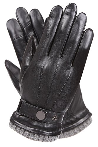 WARMEN Men's Texting Touchscreen Winter Warm Leather Driving Gloves (8, Black)