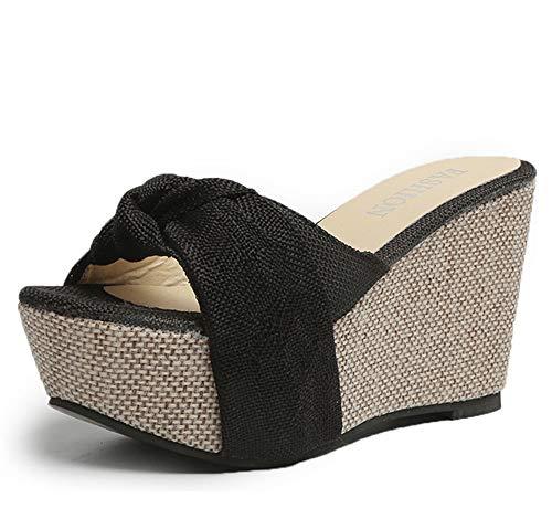 Yhjmdp Zapatillas Verano Agradable Arco desliza Zapatos Mujer Sexy Sandalias de Punta Abierta Sandalias de cuña de tacón Alto Zapatillas de Playa Sandalias de Plataforma,Negro,38