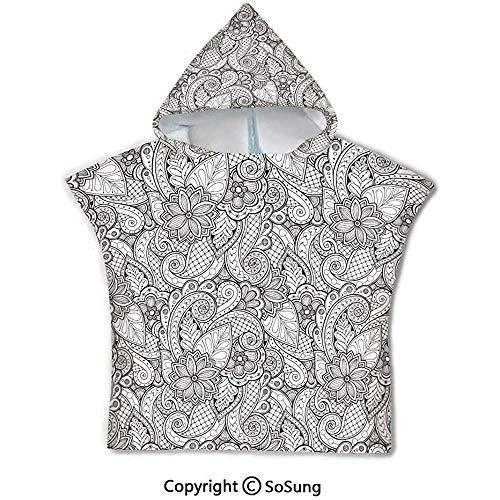 Gustave Tomlinson Doodle Toalla de baño con Capucha para niños pequeños, Flores y Paisley Libro para Colorear Estilo Dibujo Influencias étnicas Ilustraciones abstractas, Blanco y Negro