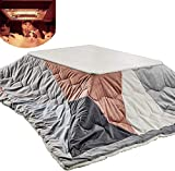 TANKKWEQ Kotatsu Table with Heater and Blanket Kotatsu Table Foot Warmer, Tatami Heated Coffee Table, Japanese Futon Set, with Heater, Comforter, Soft Rug, Foldable Table,Hit Color a,1207538cm