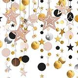 Guirnalda de Círculo de Estrellas, Dorado centelleo estrella fiesta decoraciónDecoración Colgante de Papel Del Empavesado Del Círculo de Estrellas Brillantes Bautizo de Bebés, Bodas