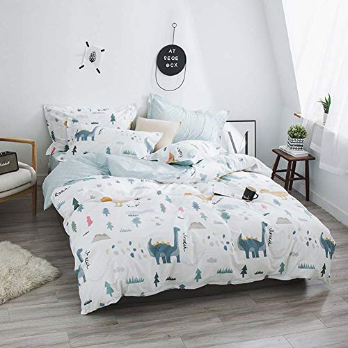 Zangge Bedding Animal King Size Duvet Cover Set 4pcs 100% Cotton Dinosaur Printed Child Kids Bedding Set