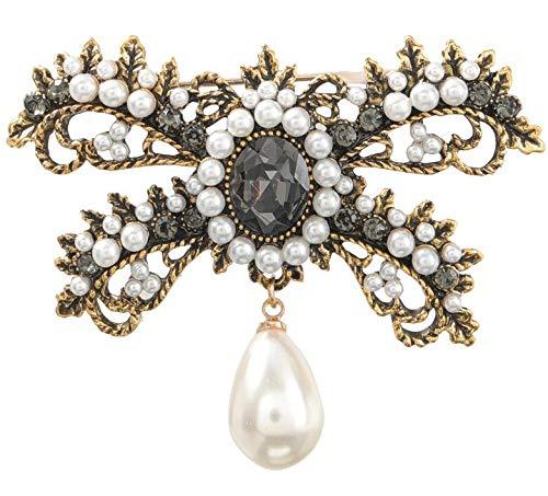 ARMAC Broche de perlas con cristales de diamantes de imitación vintage, chapado en oro, colgante de perlas para mujeres y niñas