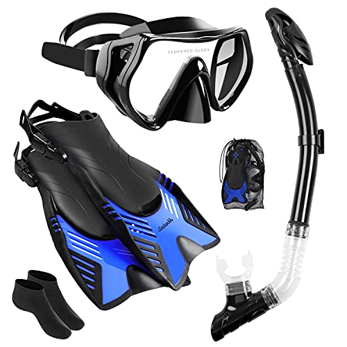 Ninetails Mask Fin Socks Snorkel Set with Adult Full Foot Pocket Adjustable Flippers, Panoramic View Anti-Fog Mask, Dry Top Snorkel and Diving Socks for Scuba Snorkeling Diving Swimming(S/M)