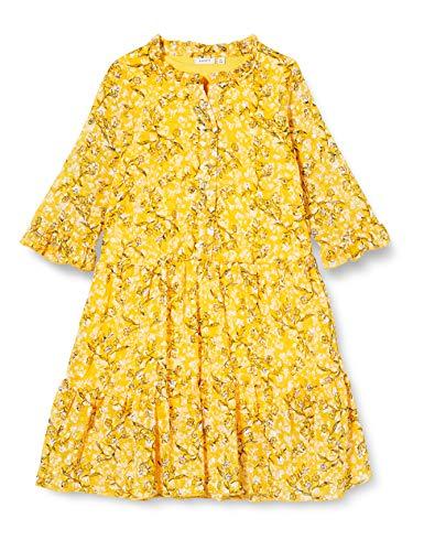 NAME IT Mädchen NKFKIMMIE MIDI 3/4 SL Dress Kleid, Spicy Mustard, 134